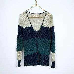 Free People Green Stripe Button Front Cardigan